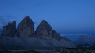 Sunrise over the Mountains Tre Cime di Lavaredo. Time Lapse