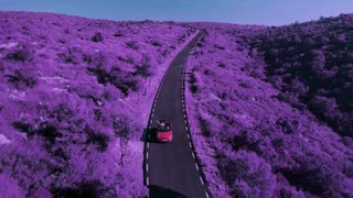 Surrealistic and creative ultra violet or purple aerial drone footage of pantone color of year of two young women best friends drive on mountain road in convertible car, happy and excited about travel