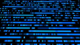 Technological background with fast motion of rectangles. Abstract blue backdrop. Seamless loop