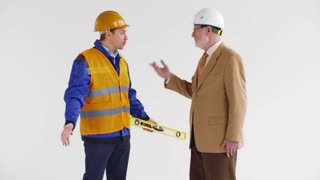 The architector developer chief scolds construction worker for failure with fire safety requirements in the new building