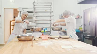 The employees women of the bakery work