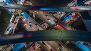 Time lapse above the freeway and highway in New York City at night