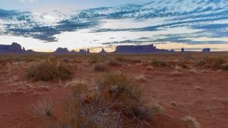 Time Lapse Desert Sunrise in Monument Valley Utah Panning Left