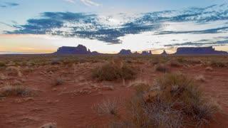 Time Lapse Desert Sunrise in Monument Valley Utah Panning Right