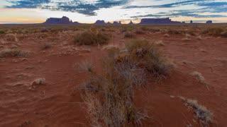 Time Lapse Desert Sunrise in Monument Valley Utah Panning Up