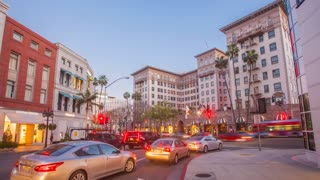 Time lapse in motion of the Beverly Wilshire hotel on Rodeo Drive in Beverly Hills at night in 4K