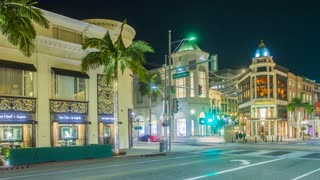 Time lapse in motion or hyper lapse from Rodeo Drive in Beverly Hills, Los Angeles at night
