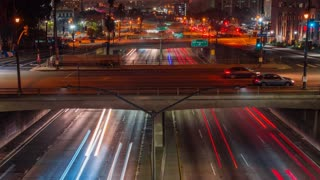Time lapse shot of freeway traffic at night