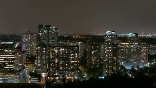 Time Lapse shot of Mississauga, Ontario, Canada at night after a rain shower.