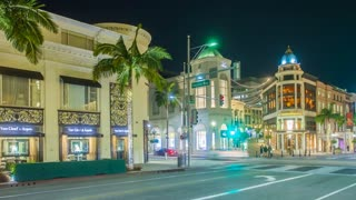 Timelapse in motion or hyperlapse from Rodeo Drive in Beverly Hills, Los Angeles at night