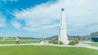 Timelapse in motion or hyperlapse of Griffith Park Observatory entrance in Los Angeles, California