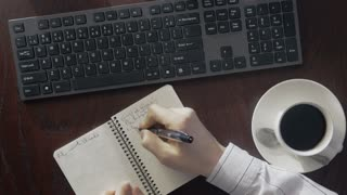 Timelapse of an efficient day at work. Office worker at his desk generating ideas and taking notes on a busy business day.