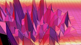Violet abstract low poly waving surface as art background. Violet abstract geometric vibrating environment or pulsating background in cartoon low poly popular modern stylish 3D design. Free space