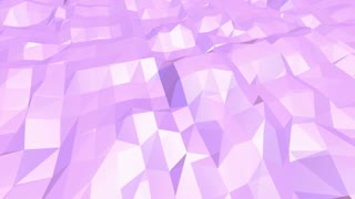 Violet abstract low poly waving surface as futuristic cyberspace. Violet abstract geometric vibrating environment or pulsating background in cartoon low poly popular modern stylish 3D design.