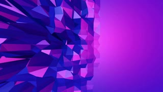 Violet abstract low poly waving surface as hypnotize environment. Violet abstract geometric vibrating environment or pulsating background in cartoon low poly stylish 3D design. Free space