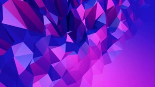 Violet abstract low poly waving surface as interesting backdrop. Violet abstract geometric vibrating environment or pulsating background in cartoon low poly stylish 3D design. Free space
