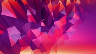 Violet abstract low poly waving surface as interesting environment. Violet abstract geometric vibrating environment or pulsating background in cartoon low poly stylish 3D design. Free space