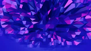 Violet abstract low poly waving surface as magnificent background. Violet abstract geometric vibrating environment or pulsating background in cartoon low poly stylish 3D design. Free space