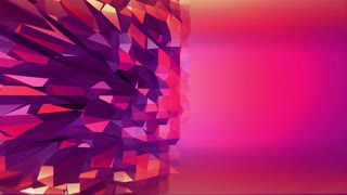 Violet abstract low poly waving surface as transforming environment. Violet abstract geometric vibrating environment or pulsating background in cartoon low poly stylish 3D design. Free space