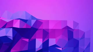 Violet low poly waving surface as CG background. Violet geometric vibrating environment or pulsating background in cartoon low poly popular modern stylish 3D design. Free space