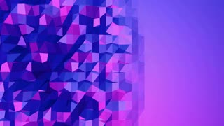 Violet low poly waving surface as psychedelic background. Violet geometric vibrating environment or pulsating background in cartoon low poly popular modern stylish 3D design. Free space