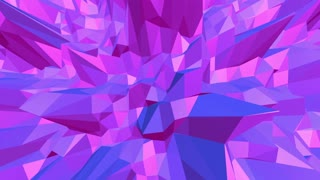 Violet or purple low poly waving surface as art environment. Violet geometric vibrating environment or pulsating background in cartoon low poly popular modern stylish 3D design.
