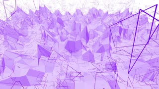 Violet or purple low poly waving surface as cool backdrop. Violet geometric vibrating environment or pulsating background in cartoon low poly popular modern stylish 3D design.
