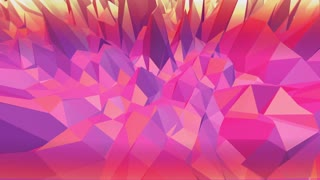 Violet or purple low poly waving surface as crystal grid. Violet geometric vibrating environment or pulsating background in cartoon low poly popular modern stylish 3D design.