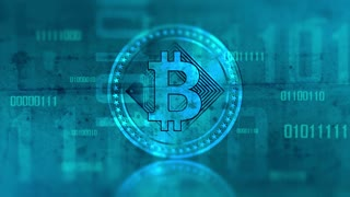 Virtual cryptocurrency Bitcoin sign in digital cyberspace. 4K UHD animation loop with digit.