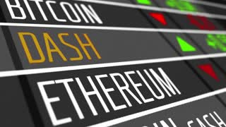 Virtual cryptocurrency Dash in stock market. 4K UHD animation loop.
