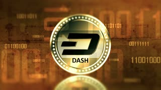 Virtual cryptocurrency Dash sign in digital cyberspace. 4K UHD animation loop with digit.