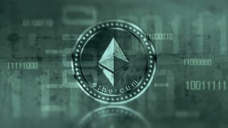 Virtual cryptocurrency Ethereum sign in digital cyberspace. 4K UHD animation loop with digit.