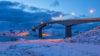 Winter Evening Bridge in Lofoten. Time Lapse