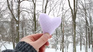 Winter, Love or Valentine's Day Concept. Hand holding a heart on the background of the winter forest