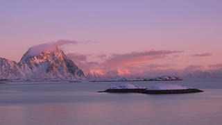 Winter Sunset over the Fjord. Time Lapse