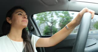 Woman Driving Car Candid Authentic Real Life 4 K Clip Of Young Woman Holding Steering Wheel And Traveling Somewhere 3