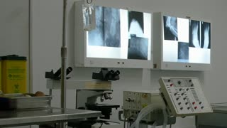 X ray in operating room dolly shot of hospital