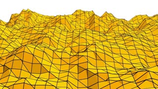 Yellow low poly background oscillating. Abstract low poly surface as futuristic landscape in stylish low poly design. Polygonal mosaic background with vertex, spikes. Modern 3D design.