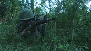 Vietnam Soldier Firing Live Ammunition, Reenactment