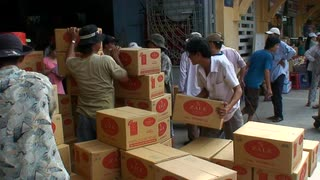 Vietnam Workers Moving Boxes
