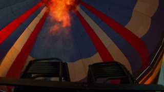 View Inside Hot Air Balloon With Jet Of Flame