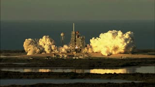 View of Atlantis Lifting Off From a Distance