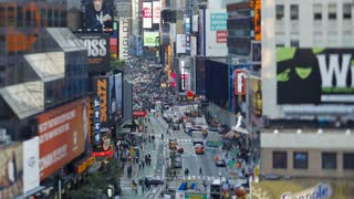 View of  Broadway looking towards Times Square on market day, New York, Manhattan,  United States of America, Time-lapse
