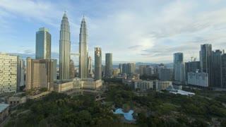 View of KLCC Park and Petronas Twin Towers, Kuala Lumpur City Centre KLCC, Malaysia, Kuala Lumpur, Asia, Time lapse
