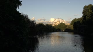 View of London Eye Through St. James Park Lake