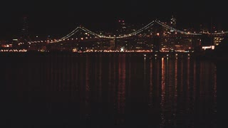 View of San Francisco Bay Bridge at Night