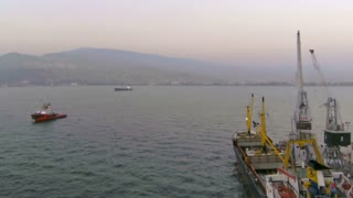 View of ships in water with time lapse