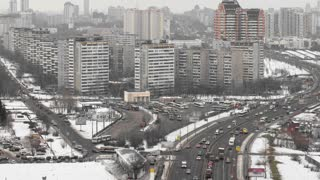 view of the development of Moscow winter day to Ozernaya street timelapse 4K