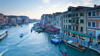 View of the Grand Canal from the Rialto Bridge, District of San Marco, Venice, Veneto, Italy - T/lapse