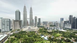 View of the Petronas Twin Towers and KLCC Park, Kuala Lumpur City Centre KLCC, Malaysia, Kuala Lumpur, Asia, Time lapse